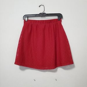 NWOT Red Lace Lined Mini Skirt